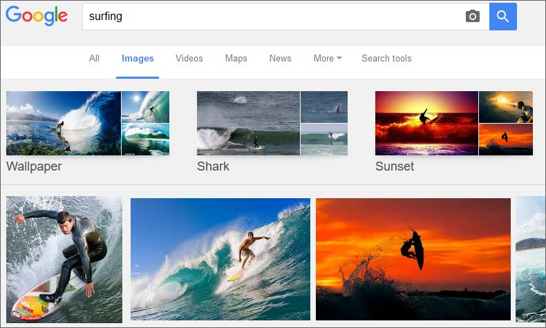 google images search results