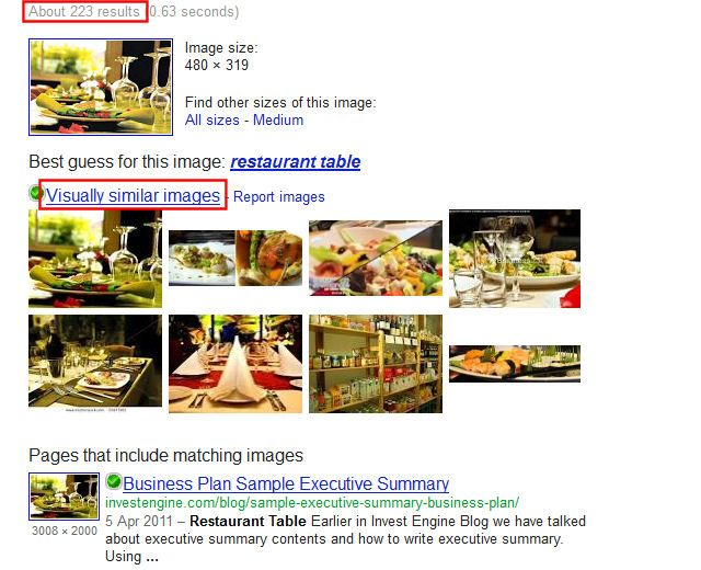 google visually similar images