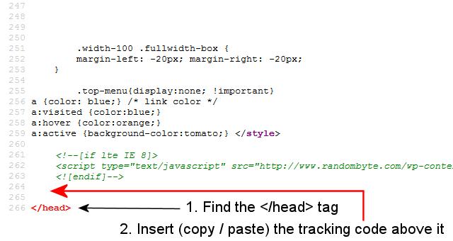 inserting tracking code