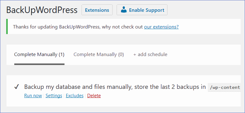 backupwordpress plugin settings