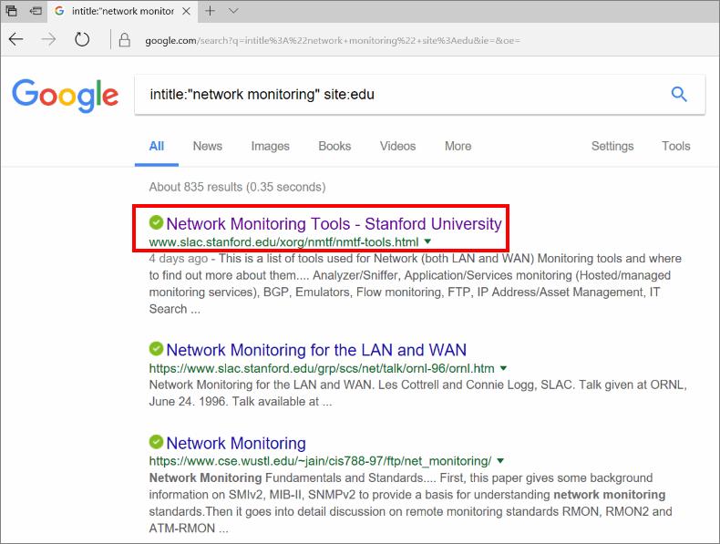 google edu search results